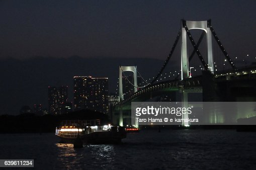 Roofed pleasure boats in Odaiba, Tokyo : ストックフォト