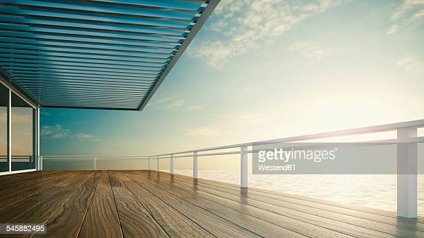 Roofed terrace of luxury residential house at the sea