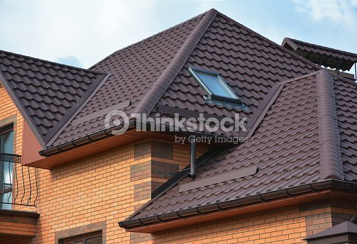roofing construction with attic skylights rain gutter system