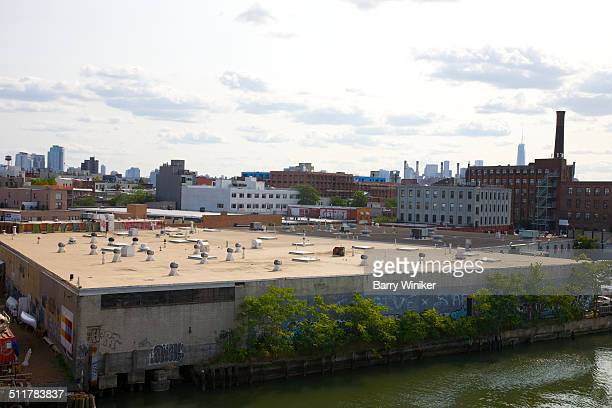 Roofs and industrial buildings on Brooklyn canal