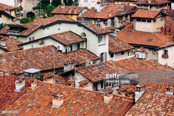 Roofs of old houses in Citta Alta of Bergamo, Lombardy, Italy