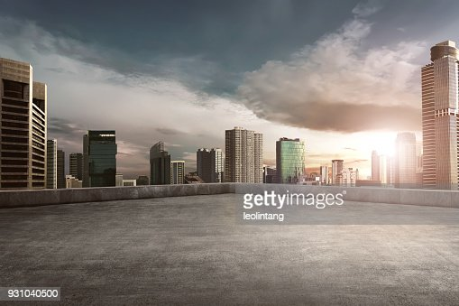 Rooftop balcony with cityscape : Stock Photo