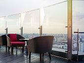 Rooftop bar, skyscraper restaurant view