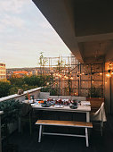 Atmosphere of a dinner party on a rooftop terrace // mobilestock photo taken with iPhone 6s