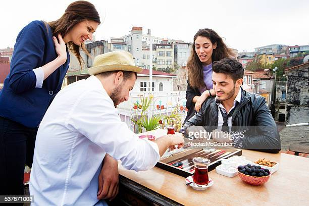 Rooftop game of tavla backgammon in Istanbul