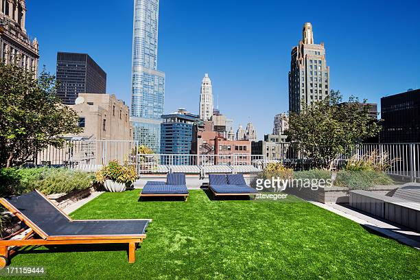 Garten auf dem Dach in der Loop, der Innenstadt von Chicago