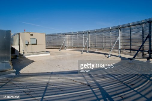Rooftop Mechanical Screens : Rooftop hvac with screen stock photo getty images
