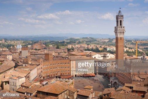 Rooftop Panorama of Siena toward Piazza del Campo