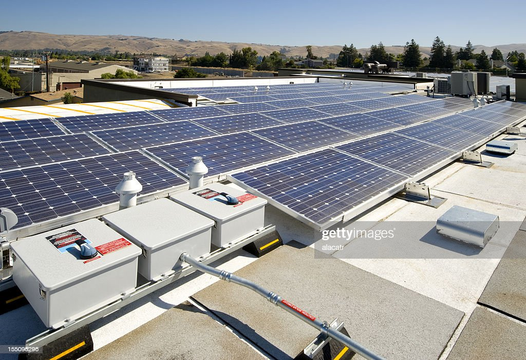 Rooftop Solar Power Installation : Stock Photo