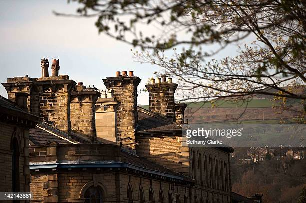 A rooftop stands in Saltaire Village World Heritage Site on March 30 2012 in Bradford United Kingdom Saltaire is named after Sir Titus Salt who built...