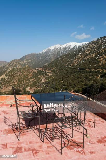 Rooftop terrace facing the High Atlas Mountains, Tizi n'Tichka pass (2,260 m), Morocco