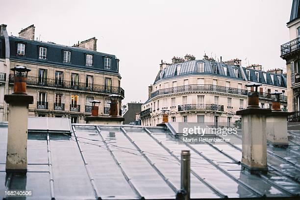 Rooftop view of Parisian houses