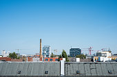 rooftop view over Berlin city, skyline and blue sky