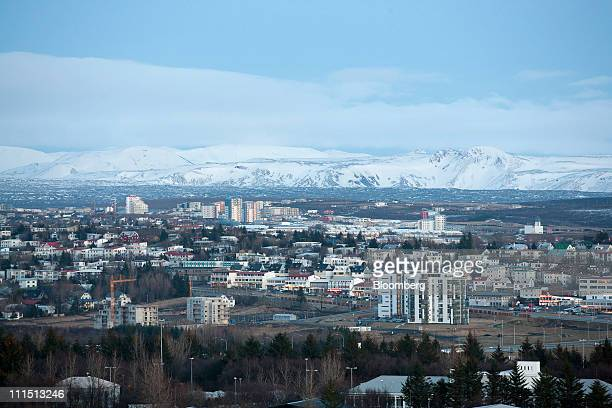 Rooftops and mountains are seen along the skyline in Reykjavik Iceland on Saturday April 2 2011 Icelandic voter support for a depositor accord with...