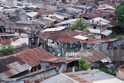 Rooftops in a shantytown : Stock Photo