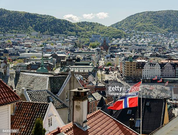 Rooftops of Bergen with flag of Norway