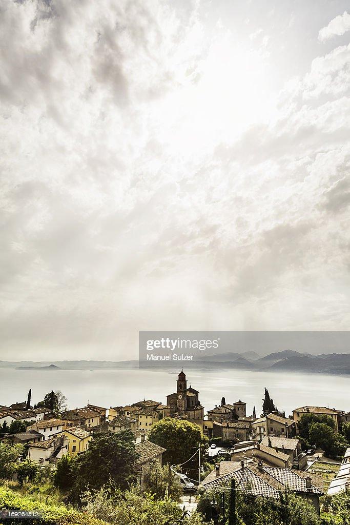 Rooftops of coastal village : Stock Photo