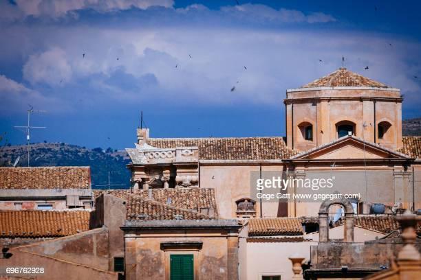 Rooftops skyline in Noto, Italy, Sicily