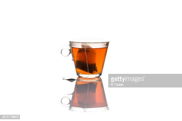 rooibos tea glass cup with bag
