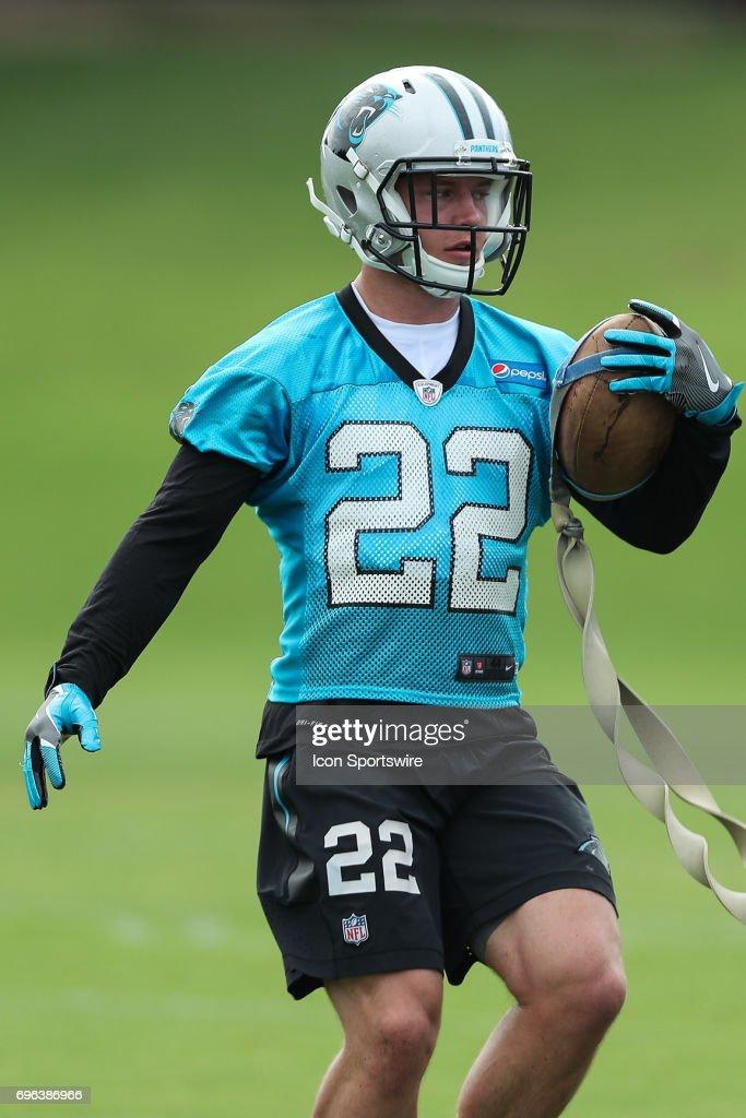 Rookie Carolina Panthers running back Christian McCaffrey (22) during the Carolina Panthers Mini Camp held on June 15, 2017 held at Carolina Panthers Training Facility in Charlotte, NC.