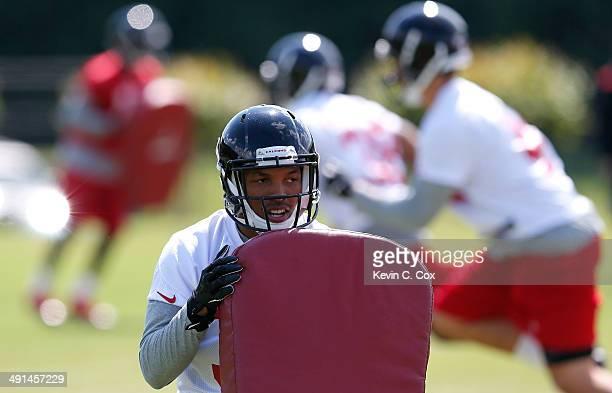 Rookie cornerback Ricardo Allen of the Atlanta Falcons runs drills during rookie minicamp at the Atlanta Falcons Training Facility on May 16 2014 in...