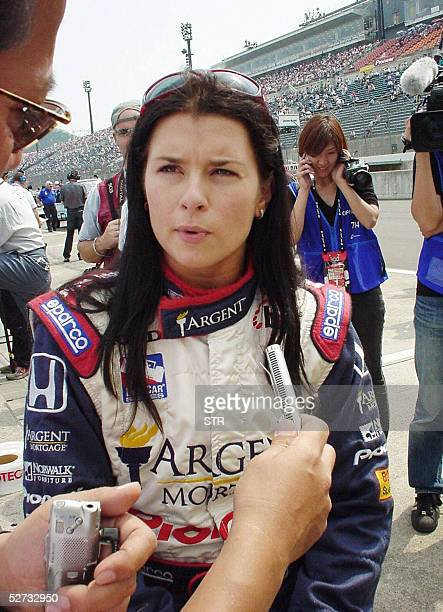 Rookie Danica Patrick of the US speaks to reporters after an official qualifying session for the Indy Japan 300 at the Twin Ring Motegi 29 April 2005...