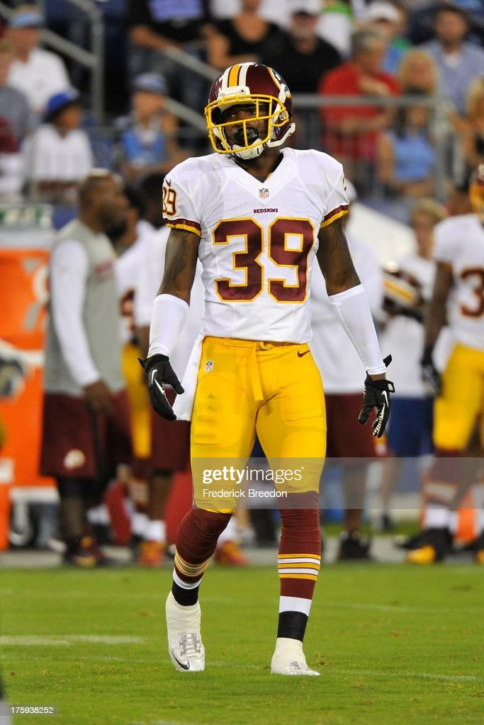 Rookie David Amerson #39 of the Washington Redskins during a pre-season game against the Tennessee Titans at LP Field on August 8, 2013 in Nashville, Tennessee.