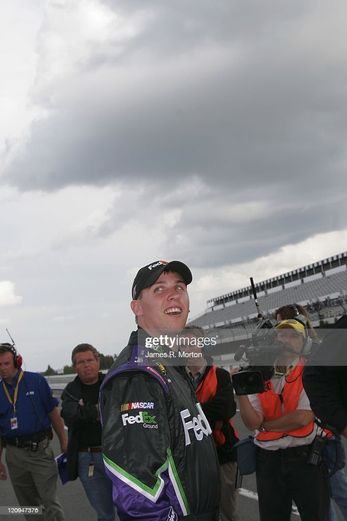 Rookie <a gi-track='captionPersonalityLinkClicked' href=/galleries/search?phrase=Denny+Hamlin&family=editorial&specificpeople=504674 ng-click='$event.stopPropagation()'>Denny Hamlin</a> reacts as he realizes that he won the Starting Pole Position for the Pocono 500 at Pocono Raceway, Long Pond, Pennsylvania on June 9th, 2006.
