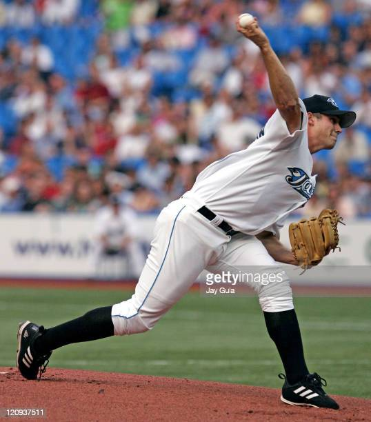 Rookie Dustin McGowan in action at the Rogers Centre in Toronto Canada on August 9 2005