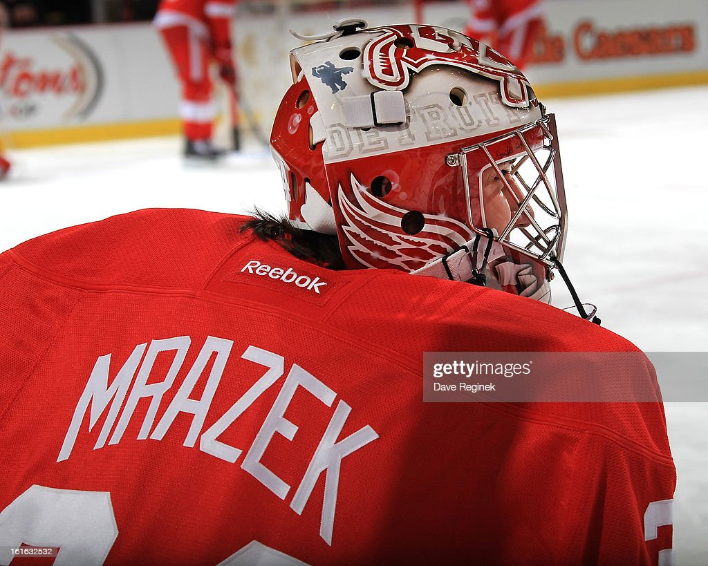 Rookie goalie Petr Mrazek #34 of the Detroit Red Wings skates around in warm-ups before his first NHL game against the Calgary Flames at Joe Louis Arena on February 5, 2013 in Detroit, Michigan. Calgary defeated Detroit 4-1