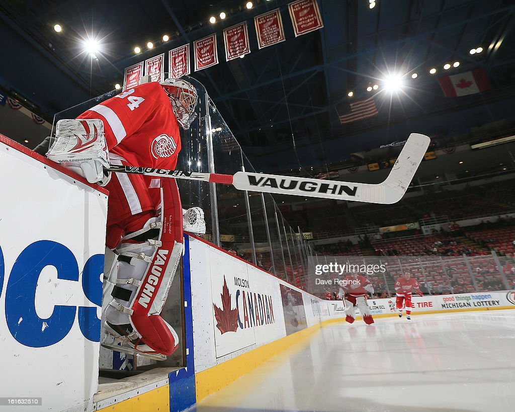 Rookie goalie Petr Mrazek #34 of the Detroit Red Wings steps on to the ice for warm-ups before his first NHL game against the Calgary Flames at Joe Louis Arena on February 5, 2013 in Detroit, Michigan. Calgary defeated Detroit 4-1