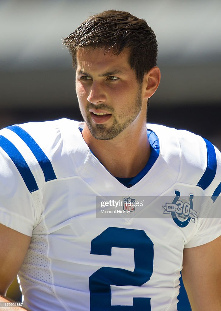 Rookie kicker Brandon McManus #2 of the Indianapolis Colts is seen during warmups before the game against the Buffalo Bills at Lucas Oil Stadium on August 11, 2013 in Indianapolis, Indiana.