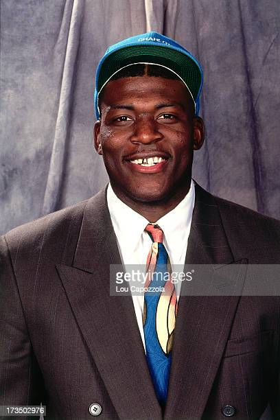 Rookie Larry Johnson of the Charlotte Hornets smiles for a photo shoot during the 1991 NBA Draft at Madison Square Garden in New York New York NOTE...