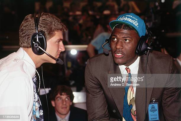 Rookie Larry Johnson of the Charlotte Hornets talks with an interviewer during the 1991 NBA Draft at Madison Square Garden in New York New York NOTE...