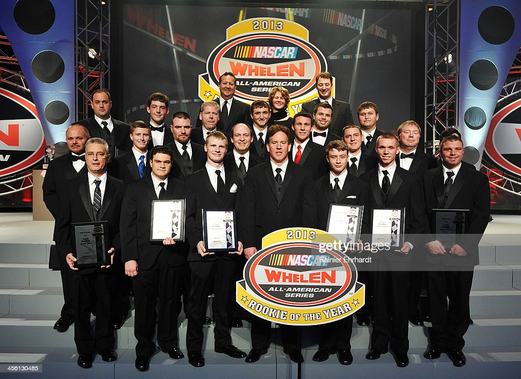 Rookie of the Year honorees pose for a photograph during the NASCAR All-American Series Awards at Charlotte Convention Center on December 13, 2013 in Charlotte, North Carolina.