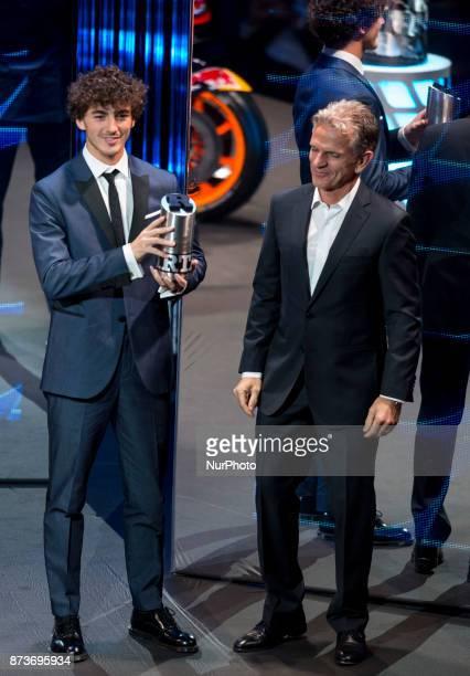 Rookie of the Year in Moto2 Francesco Bagnaia Sky Racing Team Vr46 Kalex during the FIM Awards Ceremony after the Gran Premio Motul de la Comunitat...