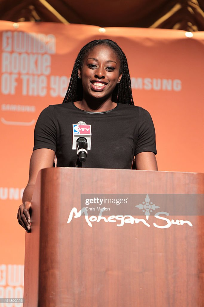 Rookie Of The Year recipient <a gi-track='captionPersonalityLinkClicked' href=/galleries/search?phrase=Chiney+Ogwumike&family=editorial&specificpeople=6866662 ng-click='$event.stopPropagation()'>Chiney Ogwumike</a> of the Connecticut Sun speaks to the media at a press conference on August 28, 2014 at the Mohegan Sun Casino in Uncasville, Connecticut.