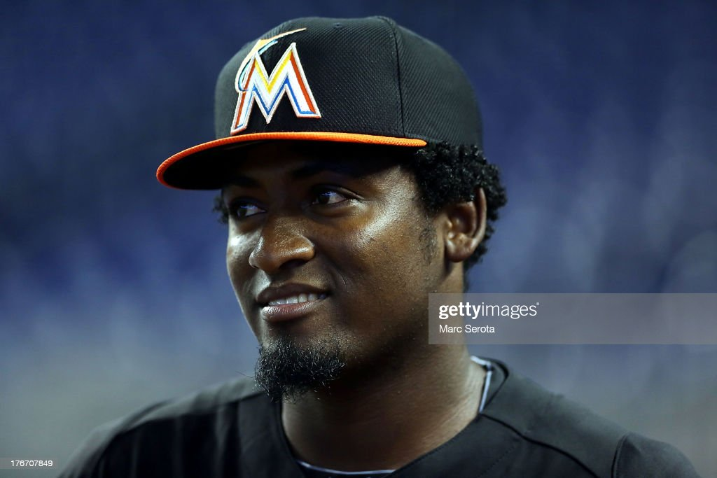 Rookie Pitcher Arquimedes Caminero #49 of the Miami Marlins prepares to play against the San Francisco Giants at Marlins Park on August 17, 2013 in Miami, Florida.