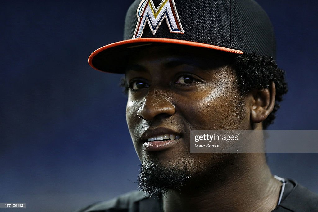 Rookie Pitcher Arquimedes Caminero #49 of the Miami Marlins prepares to play against the San Francisco Giants at Marlins Park on August 17, 2013 in Miami, Florida. The Giants defeated the Marlins 6-4.