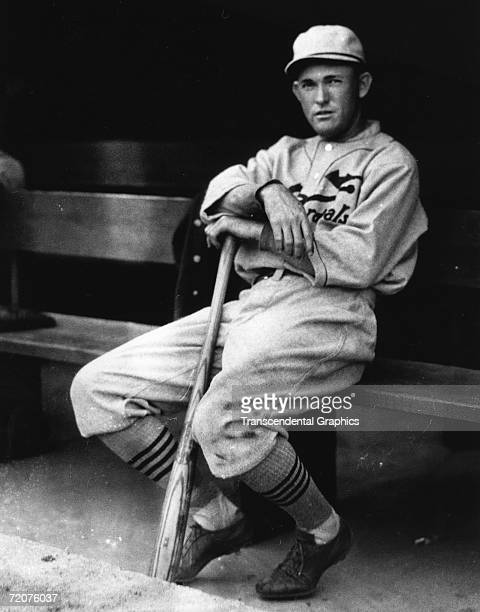 Rookie Rogers Hornsby second baseman for the St Louis Cardinals sits in the dugout in Sportsmans Park sometime in 1916