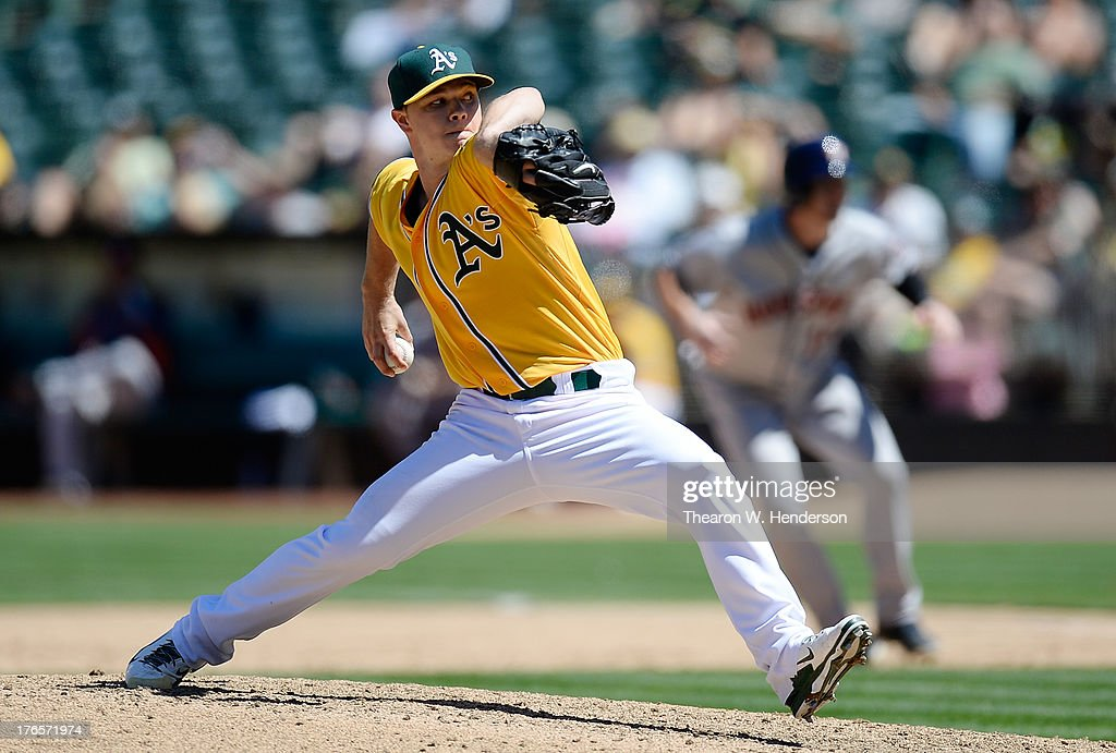 Rookie Sonny Gray #54 of the Oakland Athletics pitches in the sixth inning against the Houston Astros at O.co Coliseum on August 15, 2013 in Oakland, California. The Athletics won 5-0, with 2011 first-round-draft-pick Gray picking up his first career win.