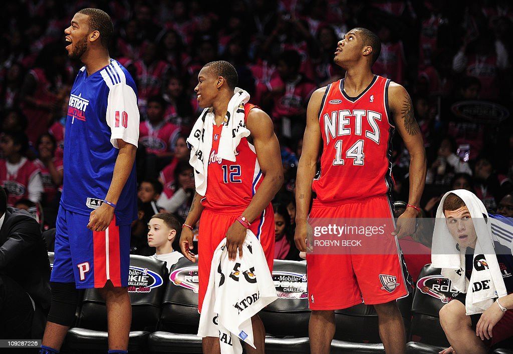 Rookie Team members from left Detroit Pistons center Greg Monroe Los Angeles Clippers guard Eric Bledsoe New Jersey Nets forward Derrick Favors and...