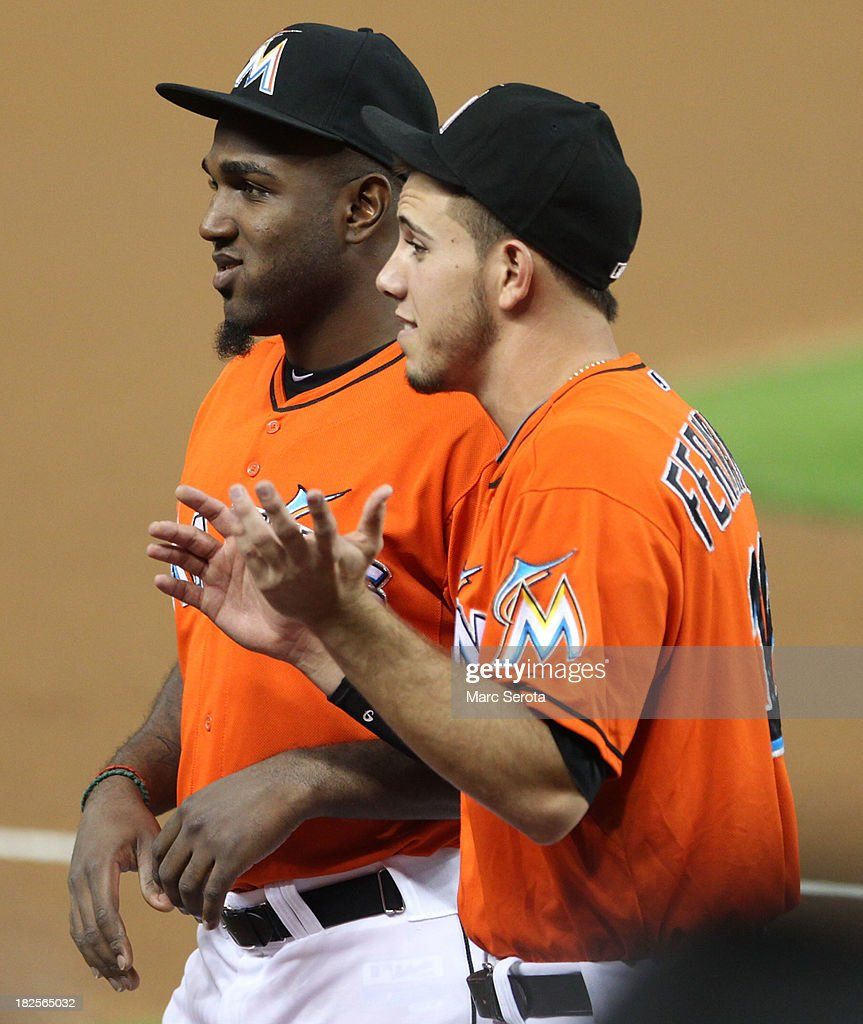 Rookies Jose Fernandez #16 and Marcell Ozuna #48 of the Miami Marlins prior to their team playing against the Philadelphia Phillies at Marlins Park on September 23, 2013 in Miami, Florida. The Marlins defeated the Phillies 4-0.