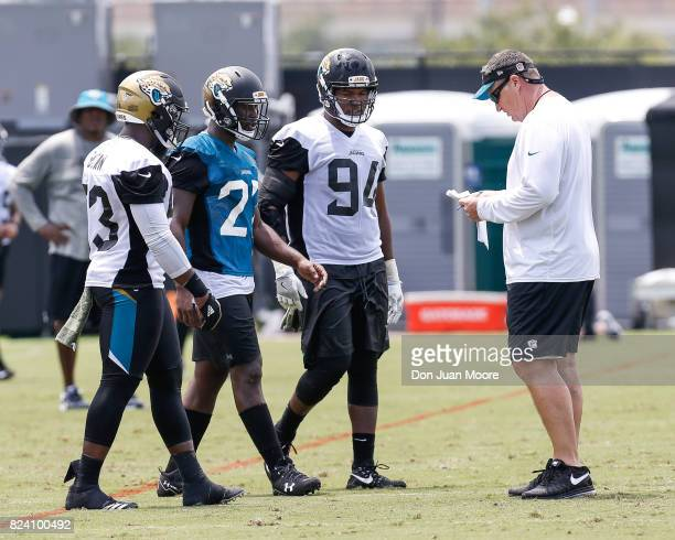 Rookies Linebacker Blair Brown Runningback Leonard Fournette and Defensive End Dawuane Smoot talk with Head Coach Doug Marrone of the Jacksonville...