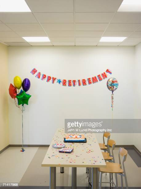Room decorated for an office retirement party
