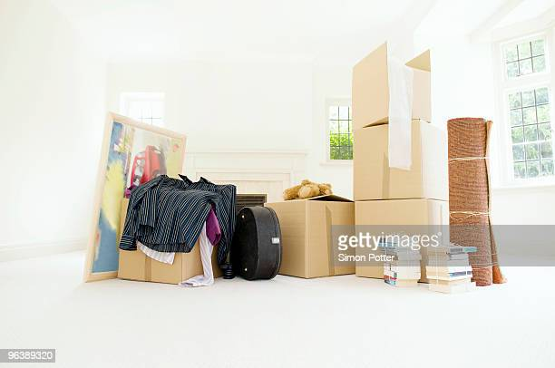 A room filled with packed belongings
