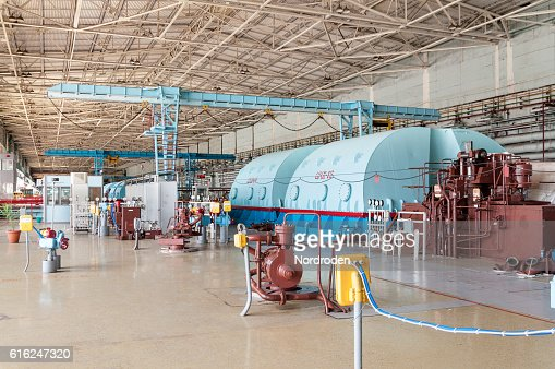 Room for the steam turbines of nuclear power. : Stock Photo