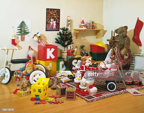 Room full of Christmas toys, high angle view