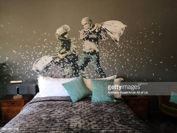 Room inside street artist Banksy's newly opened Walled Off Hotel in the Israeli occupied West Bank town of Bethlehem Anonymous British street artist...