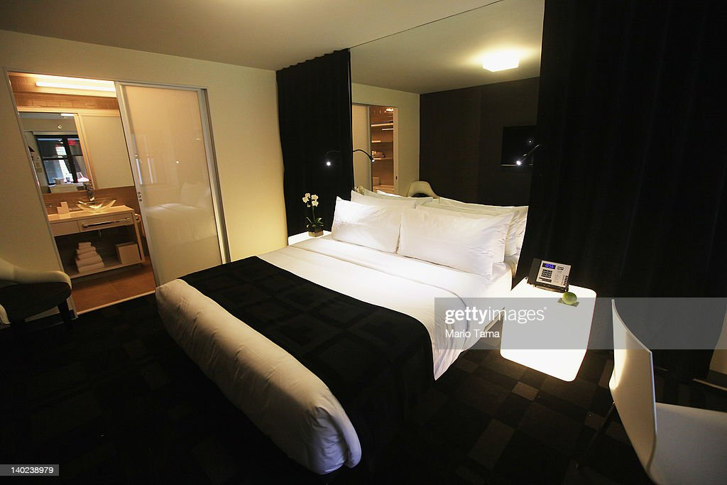 A room is seen at a new gay resort hotel, THE OUT NYC, in midtown Manhattan after the ribbon-cutting ceremony on March 1, 2012 in New York City. The 105-room gay urban resort, which is 'straight-friendly,' is set to open March 1 in the Hell's Kitchen neighborhood and features a nightclub, spa, restaurant and outdoor spaces. It is being billed as New York City's first gay hotel.